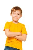 Confident kid in yellow t-shirt Stock Images