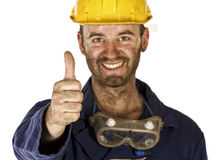Confident labourer thumb up Royalty Free Stock Photography