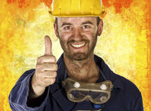 Confident labourer thumb up Royalty Free Stock Photo