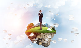 Confident lady boss and modern city as concept of eco green construction Stock Images