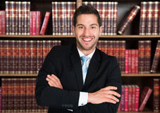 Confident Lawyer Standing Arms Crossed Stock Image