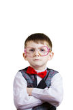 Confident little boy nerd Stock Photo