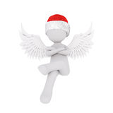 Confident little 3d rendered Christmas angel. Wearing a red Santa hat sitting with folded arms and raised wings, illustration on white Royalty Free Stock Photography