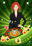 Confident lucky girl spins roulette Stock Photo