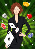 Confident lucky girl throws aces Stock Image