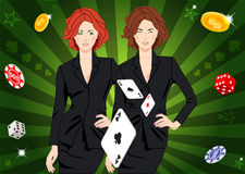 Confident lucky girl throws aces Stock Images