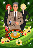 Confident lucky man spins roulette Stock Photo