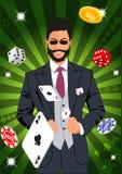 Confident lucky man throws aces Royalty Free Stock Photos