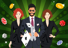 Confident lucky man throws aces Royalty Free Stock Photography