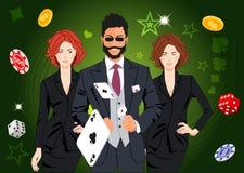 Confident lucky man throws aces Stock Photos