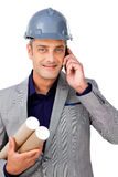 Confident male architect on phone Royalty Free Stock Photos