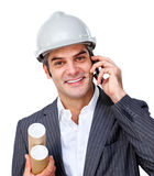Confident male architect on phone Royalty Free Stock Image