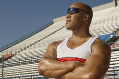 Confident Male Athlete Looking Away Stock Image