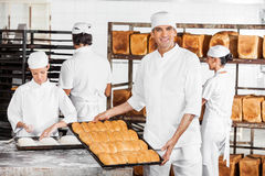 Confident Male Baker Showing Breads In Bakery Royalty Free Stock Image