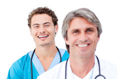 Confident male doctors smiling at the camera Stock Images