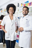 Confident Male And Female Pharmacists In Pharmacy Stock Photo