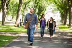 Confident Male Grad Student Walking On Campus. Full length of confident male grad student walking on campus road with friends in background Royalty Free Stock Image
