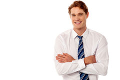 Confident male manager portrait over white Royalty Free Stock Images