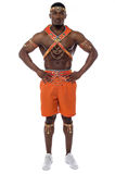 Confident male samba dancer. Royalty Free Stock Images