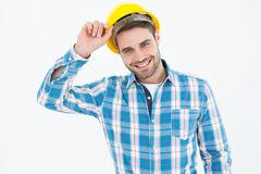 Confident male technicial wearing hard hat Stock Photography