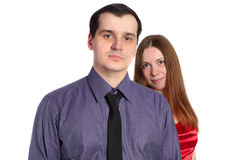 Confident Man And A Woman Behind Him Stock Photos