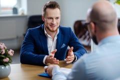 Confident man attending job interview. Confident men attending job interview royalty free stock photos