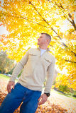 Confident Man in Autumn Stock Images