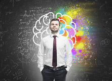 Confident man and colorful brain sketch Stock Photos