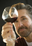 Confident Man Examining Red Wine Stock Image