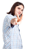 Confident man gesturing v sign Royalty Free Stock Photography
