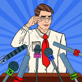 Confident Man Giving Press Conference. Mass Media Interview. Pop Art illustration. Confident Man Giving Press Conference. Mass Media Interview. Pop Art Vector royalty free illustration