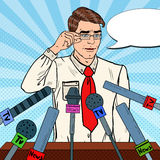 Confident Man Giving Press Conference. Mass Media Interview. Pop Art illustration. Confident Man Giving Press Conference. Mass Media Interview. Pop Art Vector stock illustration