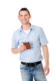 Confident man with hip flask Stock Photo