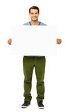 Confident Man Holding Blank Placard Stock Photo