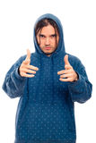 Confident man in hoodie pointing Stock Image