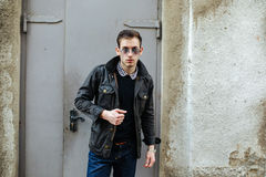 Confident man posing in selvedge  jeans Royalty Free Stock Photography