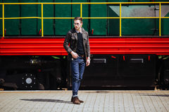 Confident man posing in selvedge  jeans Stock Photography