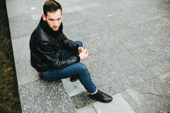 Confident man posing in selvedge  jeans Royalty Free Stock Photo