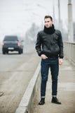 Confident man posing in selvedge  jeans Stock Photos