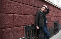 Confident man posing in selvedge  jeans Royalty Free Stock Images