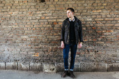 Confident man posing in selvedge  jeans Royalty Free Stock Image