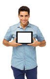 Confident Man Showing Digital Tablet Royalty Free Stock Photos