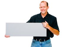 Confident man showing placard Stock Photos