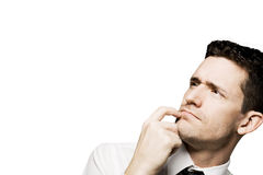 Confident man solving a problem. Isolated. Stock Photography