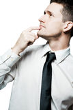 Confident man solving a problem. Isolated. Stock Photo