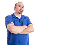 Confident Man on White with Copy Space on Right Stock Photography