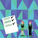 Confident Man and Woman in Business Suit Standing, Gesturing and Presenting Data Report on Color Board. Creative. Man and Woman in Business Suit Presenting royalty free illustration