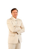 Confident manager looking straight ahead. Confident manager with folded arms looking straight ahead Stock Photography