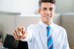 Confident Manager Pointing In Call Center Stock Photos