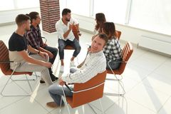 Confident Manager , sitting at the workshop. The concept of successful work Stock Photos